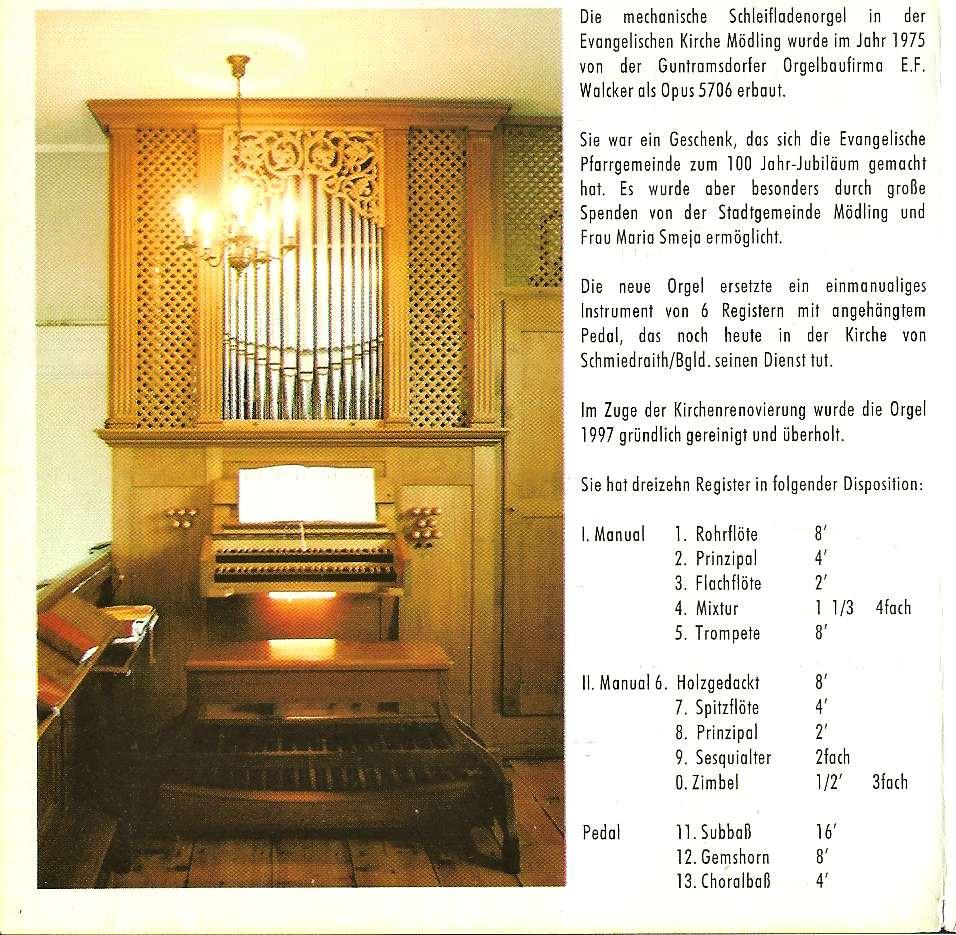 Orgel der evangelischen Kirche Mödling
