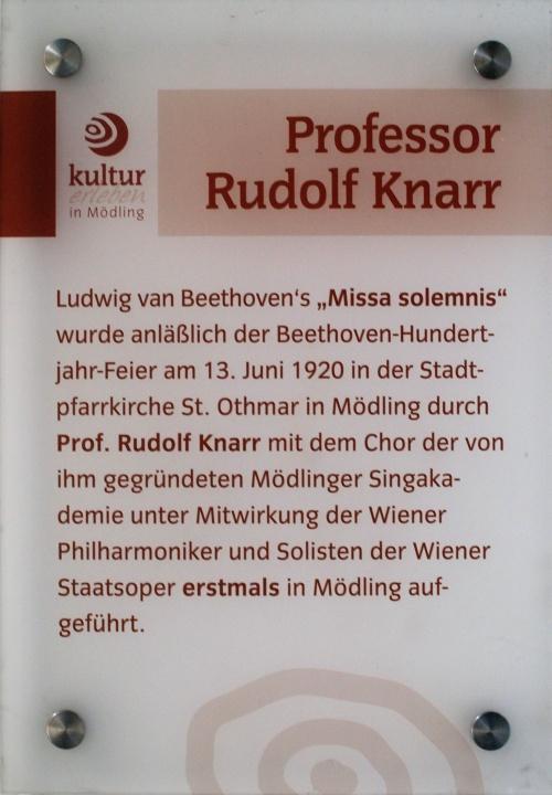 Gedenktafel für Rudolf Knarr in St. Othmar