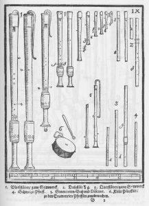 Stimmwerk der Blockflöten, Michael Praetorius, Syntagma musicum, 1619.