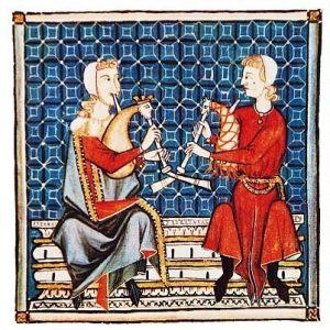 Musiker mit Dudelsäcken, Miniaturen aus den Cantigas de Santa Maria, 13. Jahrhundert.