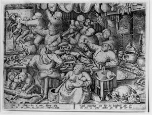 The Fat Kitchen, Pieter van der Heyden, nach Pieter Bruegel, dem Älteren, 1563.