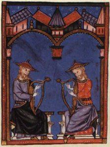 Musiker mit Harfen, Miniatur aus den Cantigas de Santa Maria, 13. Jahrhundert.