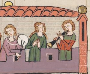 """Musiker mit Schalmei, Ausschnitt aus """"Albrecht Marschall von Rapperswil"""", Codex Manesse, 14. Jahrhundert."""