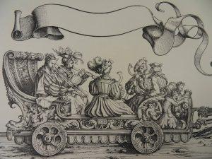 Wagen der Posaunen-, Schalmeien- und Krummhornbläser, aus dem Triumphzug Kaiser Maximillians I., Hans Burgkmaier der Ältere, um 1517.
