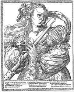 Musikerin mit Basspommer, Tobias Stummer, 2. Hälfte 15. Jahrhundert.