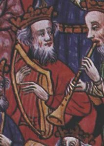 """Musiker mit Harfe und Schalmei, Detail aus dem Manuskript """"Cum superius sufficienter pro iuvenum"""", 1448."""