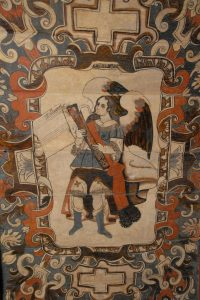 Engel mit Dulzian, Deckengemälde in der Kirche San Bartolomé, Cocucho, Mexiko, 17. Jahrhundert.