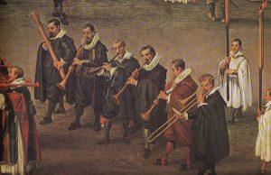 """""""Musica alta"""" mit Dulzian, Zink, Schalmeien und Posaune, Detail aus """"Procession en l'honneur de Notre-Dame du Sablon a Bruxelles le 31 mai"""", Denis van Alsloot, 1615/1616."""