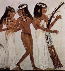 Tänzerinnen und Musikantin mit Harfe, Grabmal des Nacht, Theben, ca. 1400 v.Chr.