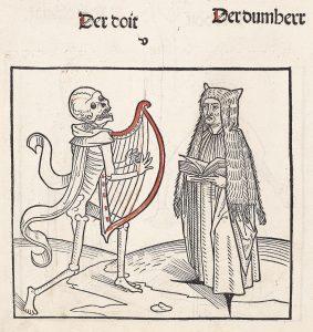 """Tod mit Harfe, Illustration aus dem Heidelberger Totentanz (""""Der doten dantz mit figuren, clage vnd antwort schon, von allen staten der werlt""""), ca. 1488."""