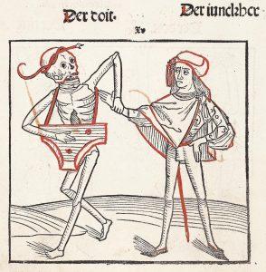 """Tod mit Psalterium, Illustration aus dem Heidelberger Totentanz (""""Der doten dantz mit figuren, clage vnd antwort schon, von allen staten der werlt""""), ca. 1488."""