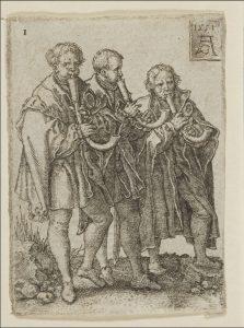 Drei Musikanten mit Krummhorn, Heinrich Aldegrever, 1551.