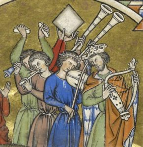 König David mit Harfe und Musiker mit Fidel sowie Schwegel und Glocke, Kreuzfahrer-Bibel (Maciejowski-Bibel), Paris um 1240