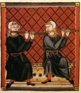 Musiker mit Traversflöten, Miniatur aus den Cantigas de Santa Maria, 13. Jahrhundert.