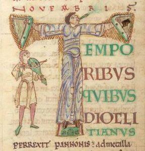 Musiker mit Rebec, Passionale, 1. Viertel 12. Jahrhundert.