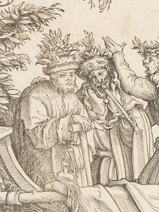 """Musiker mit Schwegel, Detail aus """"Die natürlichen Narren: Gylyme, Pock, Gülschich, Caspar, Hans Wynnter, Guggeryllis"""", aus dem Triumphzug Kaiser Maximillians I., Hans Burgkmaier der Ältere, um 1517."""