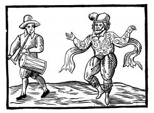 Schwegelspieler und Moriskentänzer, Illustration von William Kempes Morris dance von London nach Norwich im Jahr 1600.