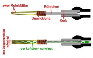 Prinzip der Tonerzeugung bei Doppelrohrblatt- Instrumenten.