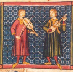 Musiker mit Armfidel und Citole, Cantigas de Santa Maria, 13. Jh.