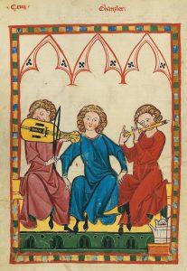"""Musiker mit Fidel und Traversflöte, """"Der Kanzler"""", Codex Manesse, 14. Jahrhundert."""