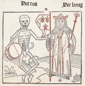 """Illustration aus dem Heidelberger Totentanz (""""Der doten dantz mit figuren, clage vnd antwort schon, von allen staten der werlt""""), ca. 1488."""