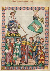 """Musiker mit Fideln, Flöten, Dudelsack und Psalterium, """"Meister Heinrich Frauenlob"""", Codex Manesse, 14. Jahrhundert."""
