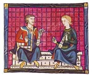 Musiker mit Rebec, Miniatur aus den Cantigas de Santa Maria, 13. Jahrhundert.