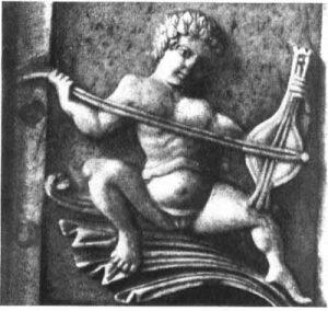 Früheste bekannte Darstellung eines Rebec-Spielers (?), byzantinische Elfenbeinschnitzerei, um 1000, Museo Nazionale, Florenz.