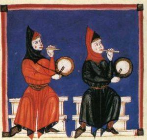 Musiker mit Schwegelpfeifen, Miniatur aus den Cantigas de Santa Maria, 13. Jahrhundert.