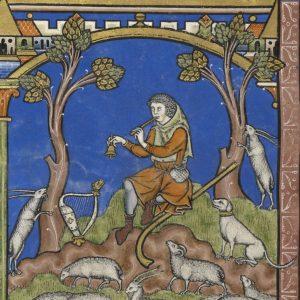 Musiker mit Schwegel und Glocke, König David hütet Schafe, Kreuzfahrer-Bibel (Maciejowski-Bibel), Paris um 1240.