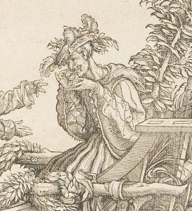 """Musiker mit Maultrommel, Detail aus """"Die natürlichen Narren: Gylyme, Pock, Gülschich, Caspar, Hans Wynnter, Guggeryllis"""", aus dem Triumphzug Kaiser Maximillians I., Hans Burgkmaier der Ältere, um 1517."""