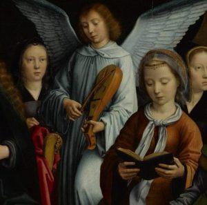 "Engel mit Rebec, Ausschnitt aus ""La Vierge entre les Vierges"", Gérard David (1450-1523)."