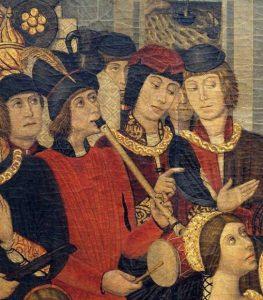 Musiker mit Schwegel und Trommel, Pedro de Benabarre, ca. 1470.