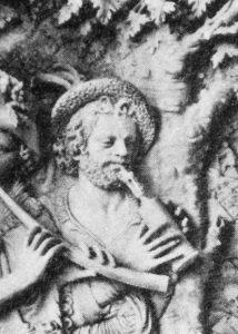 Musizierender Satyr mit Rankett, Detail aus dem Münzschrein des Kurfürsten Maximilian I. von Bayern, Christof Angermair, 1618/24.