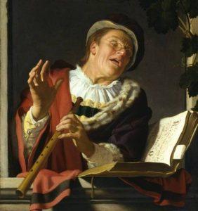Singender Zinkspieler, Gerard van Honthorst, 1623.