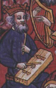 """Musiker mit Schwegel und Tambourin de Bearn, Detail aus dem Manuskript """"Cum superius sufficienter pro iuvenum"""", 1448."""