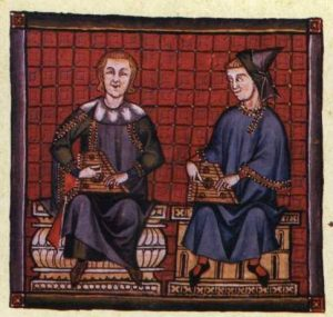 Musiker mit Psalterien, Miniatur aus den Cantigas de Santa Maria, 13. Jahrhundert.