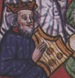 """Musiker mit Psalterium, Detail aus dem Manuskript """"Cum superius sufficienter pro iuvenum"""", 1448."""
