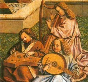 Schule des Jan van Eyck (1385-1441): Der Gnadenbrunnen (Detail), Madrid, Prado.